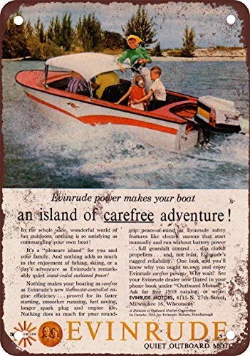LHZJ Metal Tin Sign 1959 Evinrude Boat Motors Wall