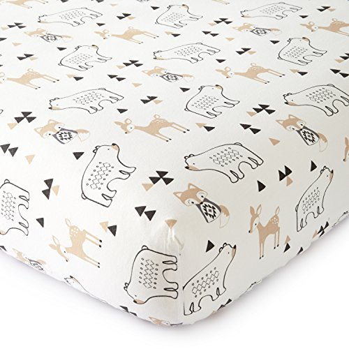 (Levtex Baby Bailey Charcoal and White Collection Print Fitted Crib Sheet)