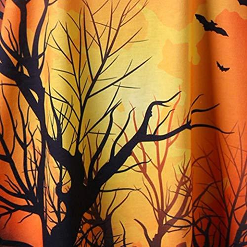 Patchwork Moda Manica Yellow Camicia Donna alla Maglietta Halloween Cappuccio Sexy Moda Halloween T Asimmetrico Sottile Lunga con Camicetta Top Pizzo Felpe Ningsun Shirt nbsp; di xBzTgx