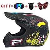 Adult Men and Women Motocross Motorcycle Helmets and Teen MX Motocross/Bicycle Outdoor Sports (Gloves, Goggles, Mask, 4 Piece Set)
