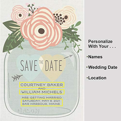 All Things Weddings, Personalized Save The Date Magnets for Weddings or Engagement, Rustic Wedding Mason Jar Design, Pack of 96 -