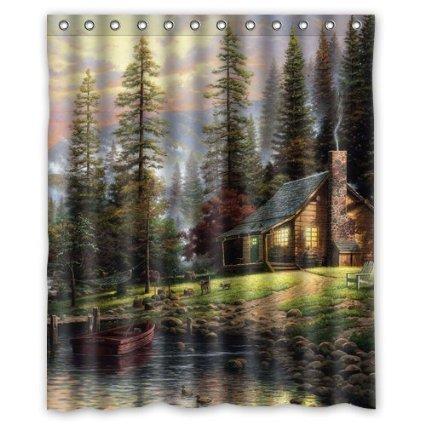 Thomas Kinkade A Quiet Cozy Home Custom Shower Curtain 60x72
