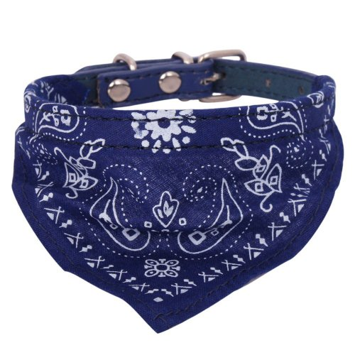 Small Adjustable Pet Dog Cat Bandana Scarf Collar Neckerchief Brand Blue