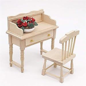 Maikouhai Mini Desk, Miniature Desk Table for 1:12 Dollhouse Wooden Furniture Model Set, Vividly Designed, Perfect for Interior Model, 9.5x4.5x10.5cm