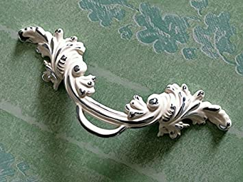 French Shabby Chic Dresser Drawer Pulls Handles  Antique Silver Cabinet Pull Handle Knobs Furniture Hardware WM983