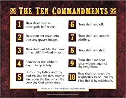 photograph about 10 Commandments Poster Printable called KJV 10 Commandments wall chart- LAMINATED