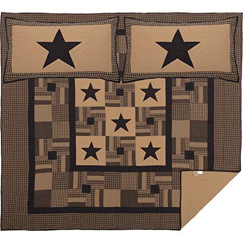 VHC Brands Primitive Bedding Black Check Cotton Pre-Washed Appliqued Star Sham King Quilt Set Raven
