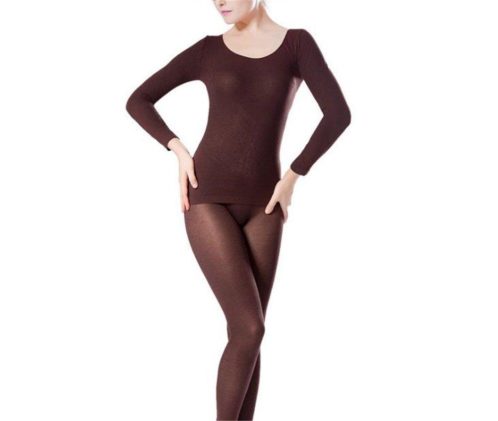 Hippolo Damen-Thermo-Unterwäsche-Set, Rundhalsausschnitt, Oberteil und Hose, ultra dünn braun ultra dünn braun HUBR