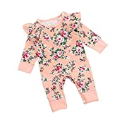 c6c521a3072a Kingte Infant Baby Girls Long Sleeve Ruffle Romper Floral (0-3M)