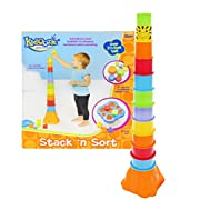 Kidoozie Stack 'n Sort Toy – 12 Colorful Pieces to Stack and 5 Shapes to Sort