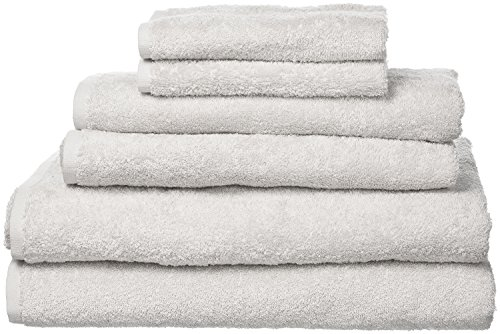 PROMIC 100% Cotton 6 Piece Bath Towel Sets (Light weight) – 2 Bath Towels, 2 Hand Towels, 2 Washcloths, Highly Absorbent and Softness, Fade-resistant (Grey)