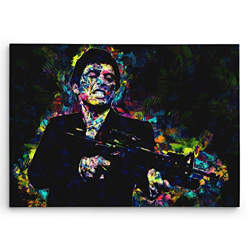 (Scarface Art on Canvas. Tony Montana at his Best. Brush Strokes Art Design. Framed on 1.5in Think Gallery Stretcher Bars. #C110 Large 20in X 30in Size)