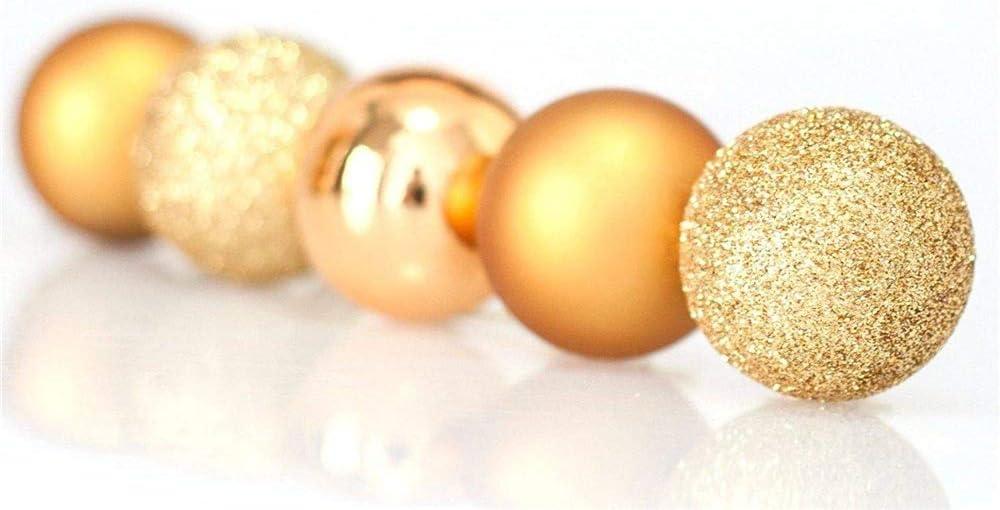 3cm CZY Lot de 24 boules de No/ël incassables pour d/écoration de sapin de No/ël rose