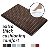 MICRODRY Extra-Thick, SoftLux, Charcoal Infused Memory Foam Bath Mat with GripTex Skid-Resistant Base, 17x24, Chocolate