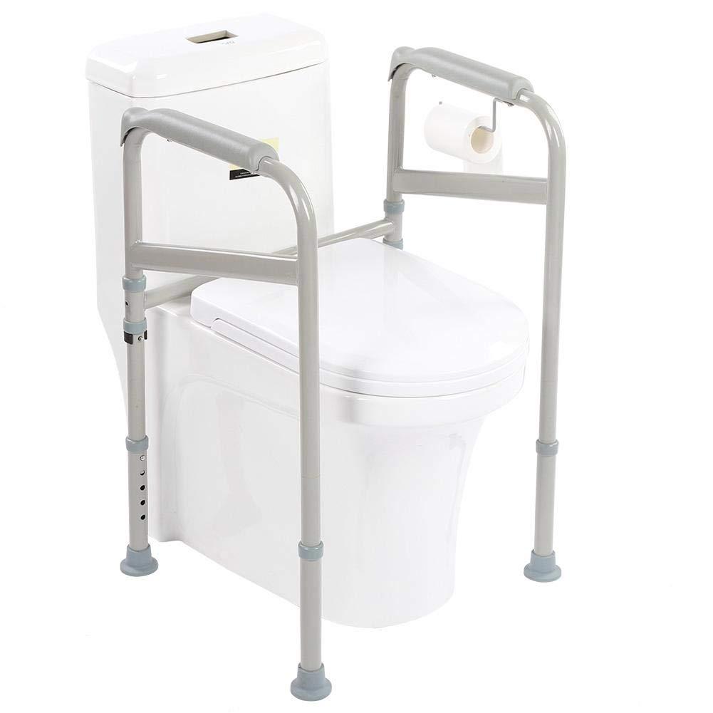 ROBTLE Stand Alone Toilet Safety Rail, Heavy Duty Medical Toilet Safety Frame Adjustable Bathroom Toilet Handrails Grab Bar, 25.6-33.9x15.74x20.47inch by ROBTLE