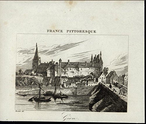 Gien Palace Boats Bridge Village nice 1835 scarce original antique view print