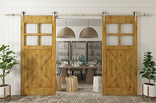 - Diyhd 10ft Brushed Nickel Steel Double Sliding Barn Wood Door Hardware for 2 Door(10ft-Double Door Kit)
