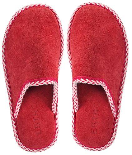 Estro Gem Womens Suede House Slippers Red KSJndQNVo
