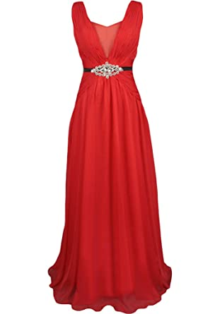 Sunvary 2016 Red Chiffon and Wedding Reception Dresses Prom Gowns: Amazon.co.uk: Clothing