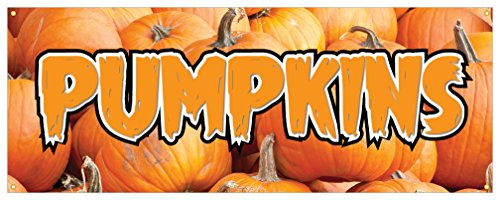 Pumpkins Banner Halloween Pie Decorations Food Retail Store Sign 48x120]()