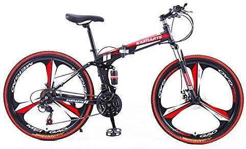 XHCP Bicicleta de montaña Plegable, Bicicletas de 24/26 Pulgadas, suspensión Completa, Doble Freno de Disco, Bicicleta de montaña para Adolescentes Adultos viajeros urbanos: Amazon.es: Hogar