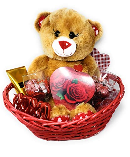 JGT Premium Romantic Gift Basket Set, Red Oval Willow Basket, Brown Teddy Bear Plush, (2) Valentine's Wine Glasses, Valentines Candy and Assorted Gift Items in A Gift Basket for Her, Wife, Girlfriend