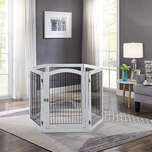 unipaws Pet Playpen with 4 Support Feet, 6 Panels Freestanding Dog Gate with Lockable Door, Foldable Stairs Barrier Pet Exercise Pen for Dogs Cats Pets, Safety Fence for Indoor Use by unipaws (Image #1)