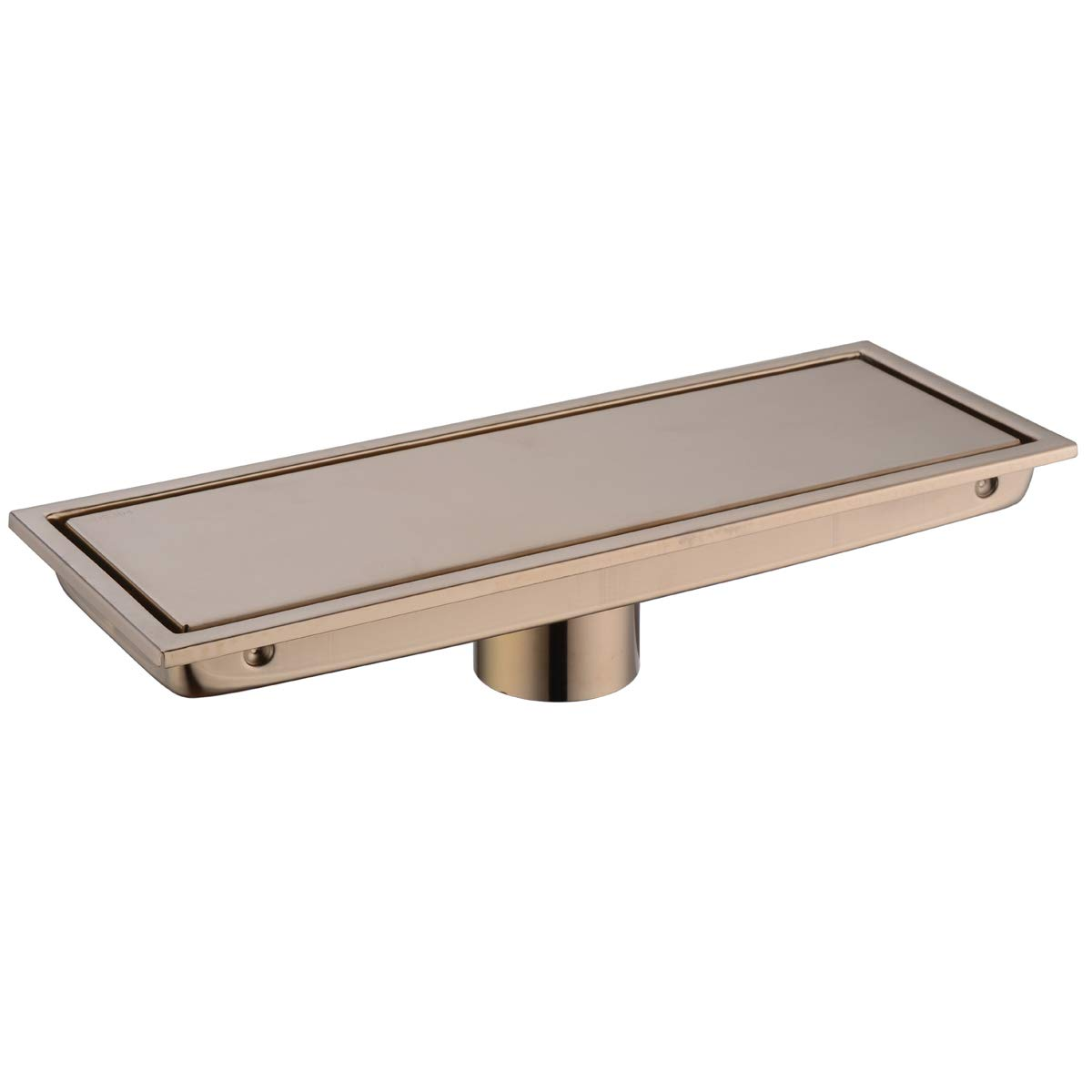 Bathroom Stainless Steel 12 Inch Linear Shower Floor Drain with Tile Insert Grate,Champagne Bronze by Brushed Gold