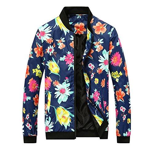 Floreale Casuale Uomini Blu Reale Degli Giacca Primavera X Sottile Di Sportiva Cappotto Tuta Qin Cime Stampa Autunno Del E XpSwxE4