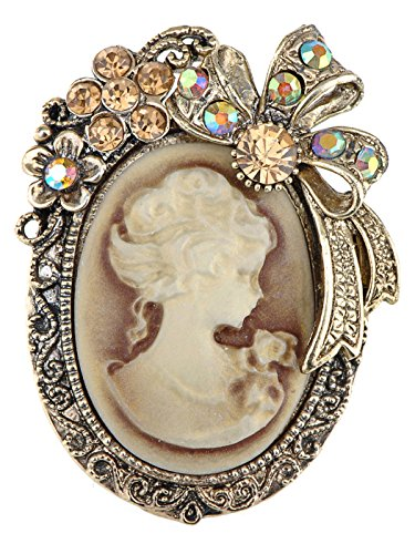 Pin Brooch Cameo Flower (Alilang Vintage Inspired Crystal Rhinestone Victorian Lady Cameo Brooch Pin Maiden Flower Ribbon Bow Pendant)