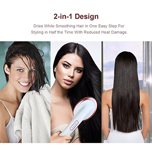 Lescolton One Step Dryer Styler Hot Air Paddle Brush Negative Ion Generator Hair Straightener For All Hair Types Eliminate Frizzing Tangled Hair Knots Promote Healthy Shiny Hair Locks