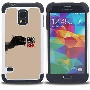 - Emosaurus Rex - Funny Dinosaur/ H???¡¯????brido 3in1 Deluxe Impreso duro Soft Alto Impacto caja de la armadura Defender - SHIMIN CAO - For Samsung Galaxy S5 I9600 G9009 G9008V