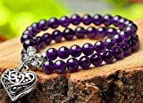 The Art of Cure Amethyst & Tibetian Silver (14in) Healing Jewelry & Mala meditation beads
