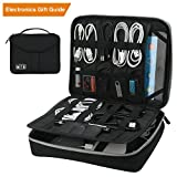 Travel Electronics Organizer, Vivefox Double Layer Travel Gadget Electronic Accessories Storage Bag (Black)