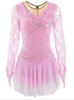 W+G Vestito da Pattinaggio Artistico per Donna/da Ragazza Pattinaggio sul Ghiaccio Vestiti Rosa Pallido/Blu Cielo Chiaro Floreale tintura Sfumata Elastene Elevata Elasticità Prestazioni Vestiti da