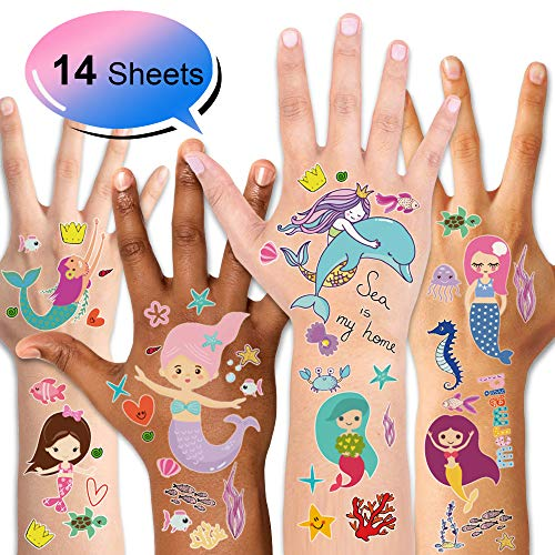 Mermaid Temporary Tattoos (14Sheet), Konsait Under the Sea Party Mermaid Tattoos Body Stickers for Girls Birthday Party Favor Supplies Goodie Bag Filler Great Kids Party Accessories Gift -
