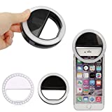 Selfie Ring Light,Gears Dimming Clip on Cellphone LED Ring light [Rechargeable Battery] with 36 LED for iPhone 6 6S 7 Plus Samsung Galaxy S6 S7 Edge Smart Phone Camera Round Shape(White)