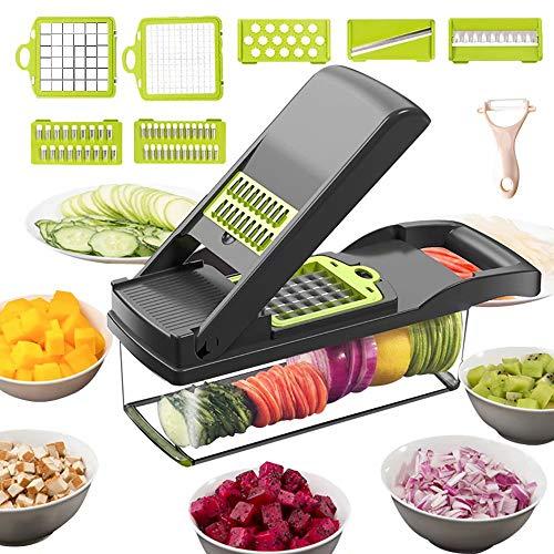 Vegetable Chopper Mandoline Slicer Cutter Chopper and Grater 12 in 1 Vegetable Slicer Cheese Slicer Onion Chopper Black