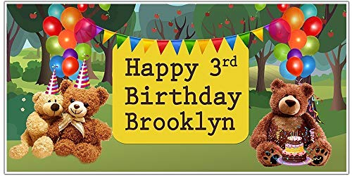 - Personalized Teddy Bears Picnic Balloon Birthday Banner