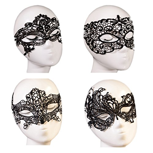 [October Elf Women Party Masquerade Costume Bar Lace Soft Eye Mask 4pcs (4)] (Soft And Sexy Mask)