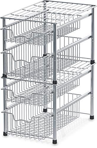 SimpleHouseware Stackable 2 Tier Sliding Basket Organizer Drawer, Chrome
