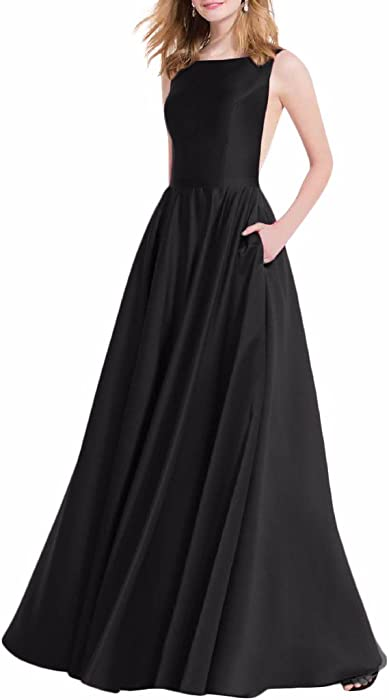 92395e44585 Verabeauty Women s Semi Formal Prom Dress Satin Party Dress Sleeveless  Evening Dress with Patchwork Pockets Black Size 2 at Amazon Women s  Clothing store