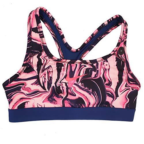 Nike Dry Girl's Dri-Fit Medium Support Sports Bra Pink Blue AT3242 (Pink, l) (Nike Pro Sports Bra Kids)