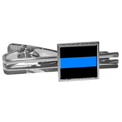 54d2b3997139 Image Unavailable. Image not available for. Color: Thin Blue Line - Police  Policemen Square Tie Bar ...