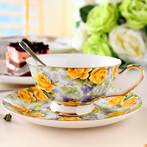 European-style coffee cup English afternoon tea cup bone China coffee cups and saucers,Yellow rose