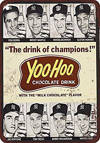 Tengss 1964 Baseball Stars for Yoo-Hoo Vintage Look Reproduction Metal Tin Sign 8X12 Inches