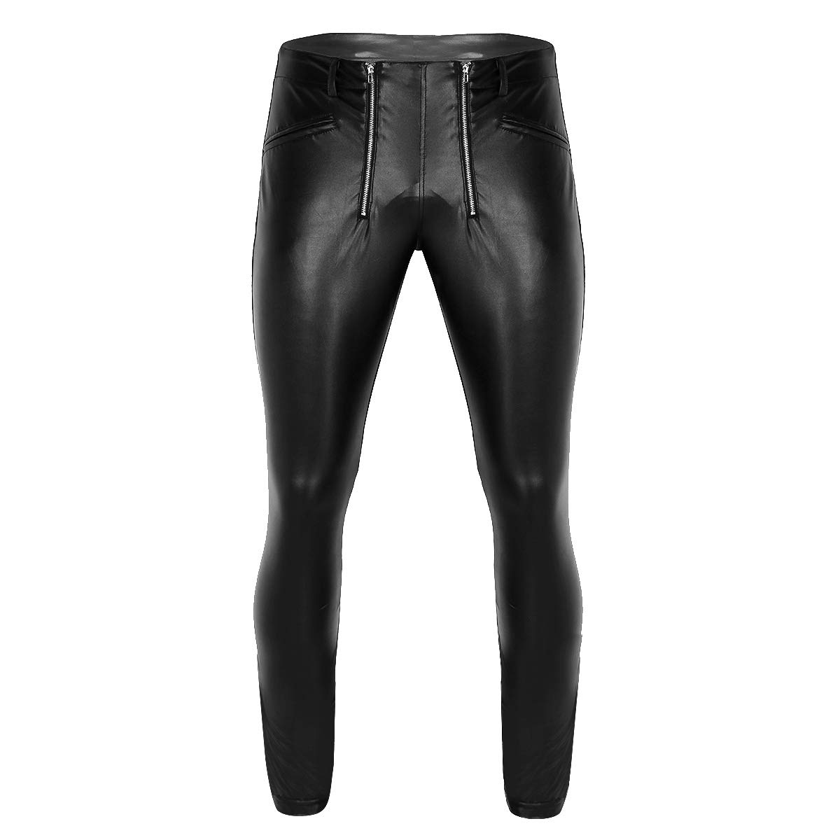 iixpin Herren Wetlook Leggings mit Reißverschluss Kunstleder Ouvert-Hose Fitness Schwarz Hose Funktionswäsche Pants