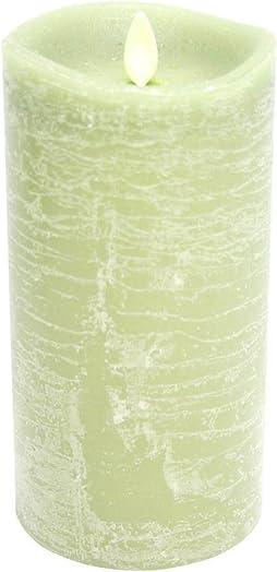 Darice 10006364 Luminaria Rustic Flameless Pillar Candle with Vanilla Scent, 3.5 X 7 , Green