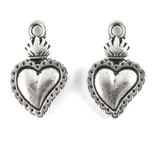 (TierraCast Pewter Charms-SILVER FLAMING HEART MILAGRO (2))