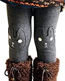 Kids Girls Winter Leggings Bunny Printed Thick Warm Fleece Pants for 2-7 Years Ash Black,140/6-7 Years